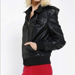 URBAN OUTFITTERS vegan leather jacket w/ h…